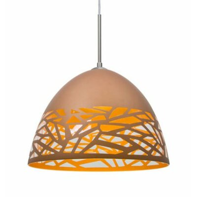 Kiev 1-Light Cord Bowl Pendant Finish: Satin Nickel, Shade Color: Copper