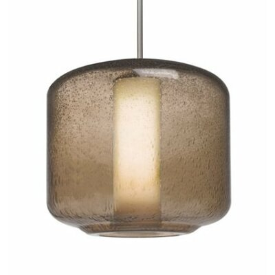 Spero 1-Light Cylindrical Cord Mini Pendant Finish: Satin Nickel, Shade Color: Smoke