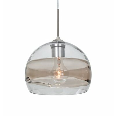 Spirit 1-Light Cord Globe Pendant Finish: Satin Nickel, Shade Color: Clear/Smoke