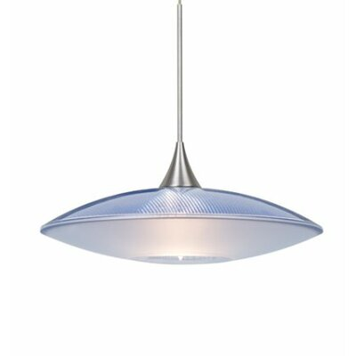 Spazio 1-Light Cord  Mini Pendant Shade Color: Blue, Finish: Satin Nickel