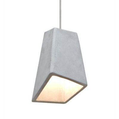 Skip 1-Light Cord Mini Pendant Shade Color: Natural, Finish: Satin Nickel