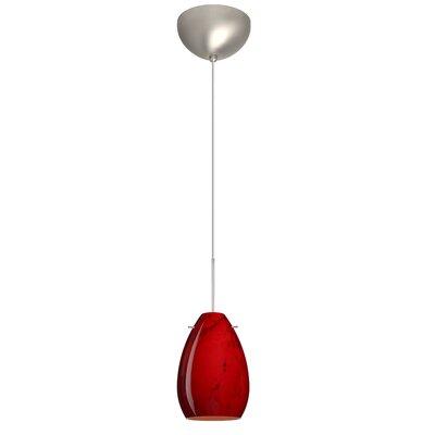 Pera 1 Light Mini Pendant Finish: Satin Nickel, Glass Shade: Magma, Bulb Type: LED