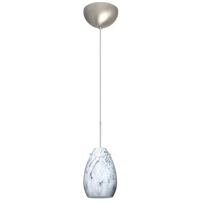 Pera 1 Light Mini Pendant Finish: Satin Nickel, Glass Shade: Marble Grigio, Bulb Type: Incandescent