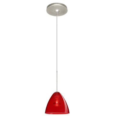 Mia 1 Light Mini Pendant Finish: Satin Nickel, Glass Shade: Transparent Red