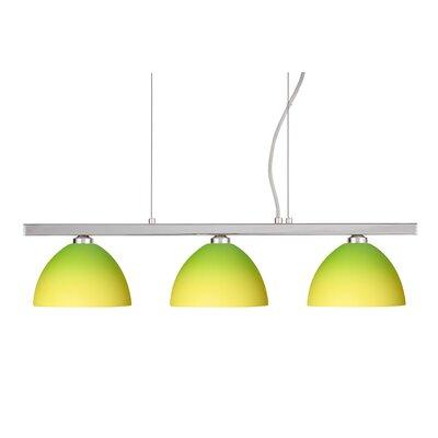 Brella 3 Light Linear Pendant Finish: Polished Nickel, Glass Shade: Bicolor Green/Yellow