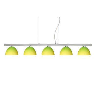 Brella 5 Light Linear Pendant Finish: Satin Nickel, Glass Shade: Bicolor Green/Yellow