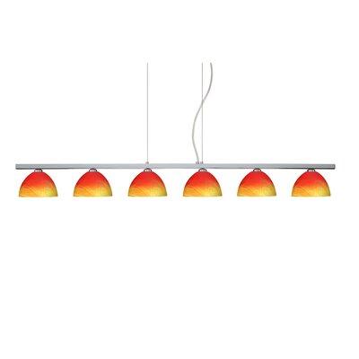 Brella 6 Light Linear Pendant Finish: Polished Nickel, Glass Shade: Solare