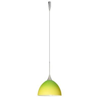 Brella 1 Light Mini Pendant Finish: Satin Nickel, Glass Shade: Bicolor Green/Yellow