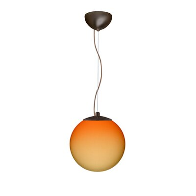 Callisto 1 Light Pendant Size / Finish / Glass Shade: Small / Bronze / Bicolor Orange/Pina