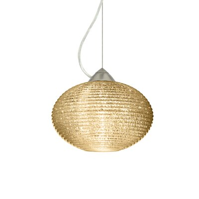 Pape 1-Light Globe Pendant Finish: Satin Nickel, Shade Color: Gold Glitter, Size: 6.88 H x 10.25 W x 10.25 D