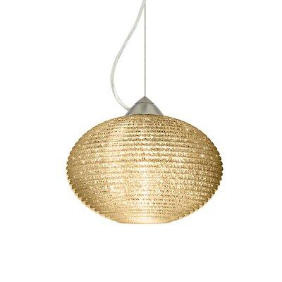 Pape 1-Light Globe Pendant Shade Color: Gold Glitter, Finish: Satin Nickel, Size: 7.5 H x 11.75 W x 11.75 D