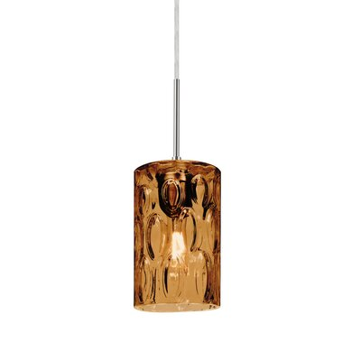 Cruise 1-Light Mini Pendant Finish: Satin Nickel, Shade Color: Amber