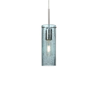 Juni 1-Light Mini Pendant Finish: Satin Nickel, Size: 10 H x 3.5 W x 3.5 D, Shade Color: Blue