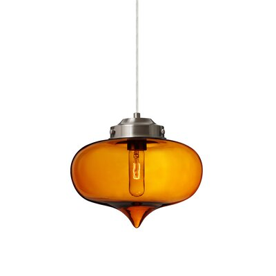 Sperling 1-Light Mini Pendant Finish: Satin Nickel, Shade Color: Amber