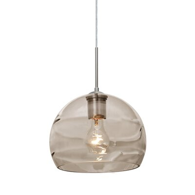 Spirit 1-Light Cord Globe Pendant Shade Color: Smoke, Finish: Satin Nickel