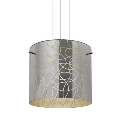 William 1-Light Drum Pendant Finish: Satin Nickel, Shade Color: Creme