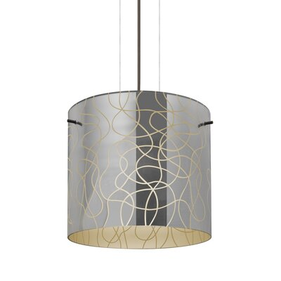 William 1-Light Brass Drum Pendant Finish: Bronze, Shade Color: Creme, Size: 9.88 H x 7.88 W x 7.88 D