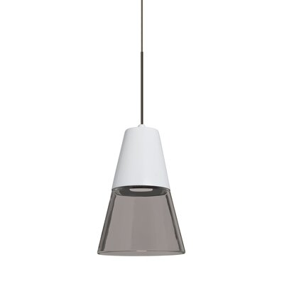 Adam 1-Light LED Mini Pendant Finish: Bronze, Shade Color: Smoke/White