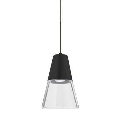 Adam 1-Light Mini Pendant Finish: Bronze, Shade Color: Clear/Black