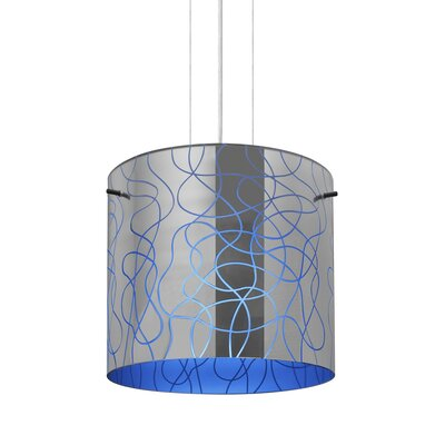 William 1-Light Drum Pendant Finish: Satin Nickel, Shade Color: Blue