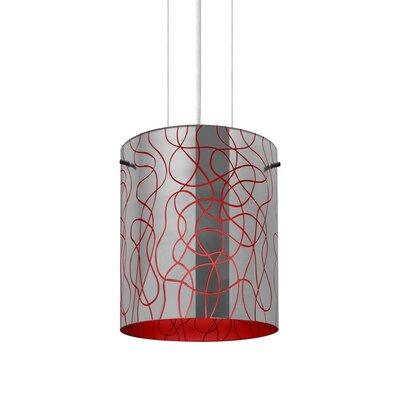 William 1-Light Brass/Steel Drum Pendant Finish: Satin Nickel, Shade Color: Red