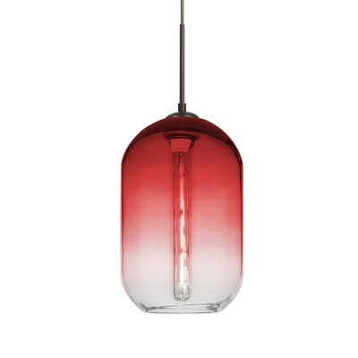 Joseph 1-Light LED Mini Pendant Finish: Bronze, Shade Color: Red