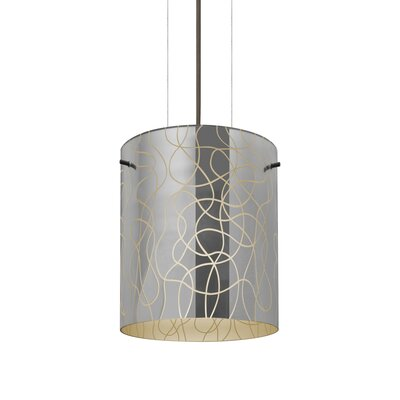 William 1-Light Brass/Steel Drum Pendant Shade Color: Creme, Finish: Bronze