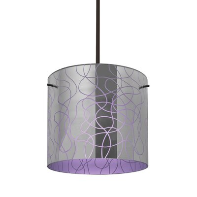William 1-Light Drum Pendant Finish: Bronze, Shade Color: Purple, Size: 9.88 H x 7.88 W x 7.88 D