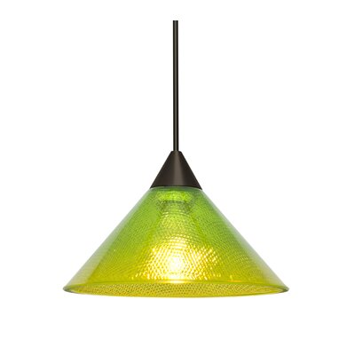 Kevin 1-Light Mini Pendant Finish: Bronze, Shade Color: Emerald/Gold, Bulb Type: Incandescent