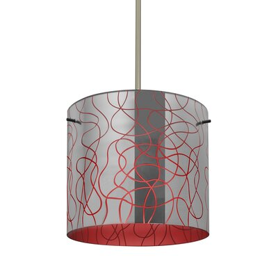 William 1-Light Cylinder Drum Pendant Finish: Satin Nickel, Shade Color: Red