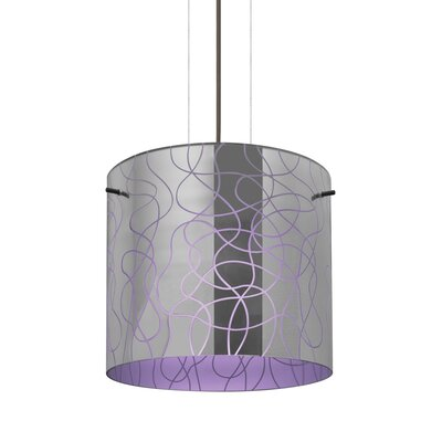 William 1-Light Brass Drum Pendant Finish: Bronze, Shade Color: Purple, Size: 9.88 H x 7.88 W x 7.88 D