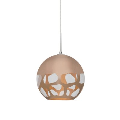 Jason 1-Light Globe Pendant Finish: Satin Nickel, Shade Color: Copper