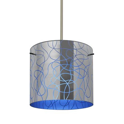 William 1-Light Cylinder Drum Pendant Finish: Satin Nickel, Shade Color: Blue