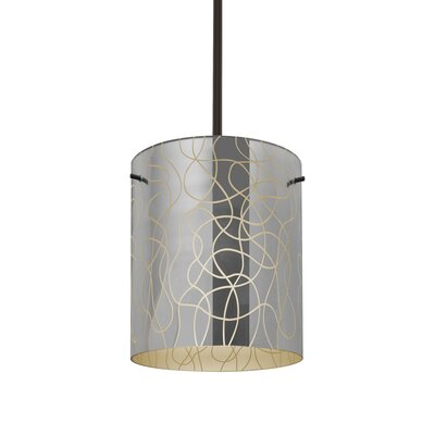 William 1-Light Cylinder Brass/Steel Drum Pendant Finish: Bronze, Shade Color: Creme