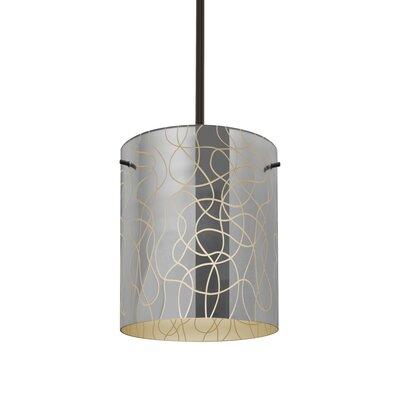 William 1-Light Cylinder Brass/Steel Drum Pendant Finish: Bronze, Shade Color: Creme