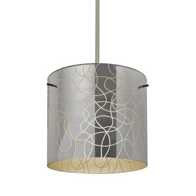 William 1-Light Cylinder Drum Pendant Finish: Satin Nickel, Shade Color: Creme