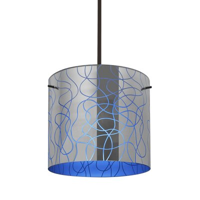 William 1-Light Drum Pendant Finish: Satin Nickel, Shade Color: Blue, Size: 9.88 H x 7.88 W x 7.88 D