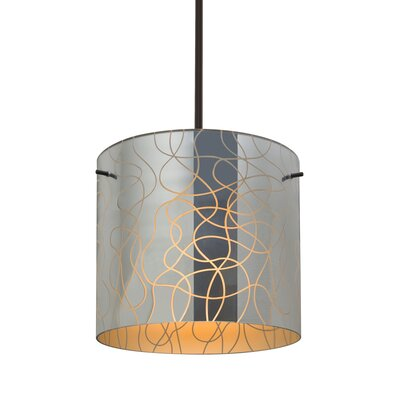 William 1-Light Cylinder Drum Pendant Finish: Bronze, Shade Color: Orange