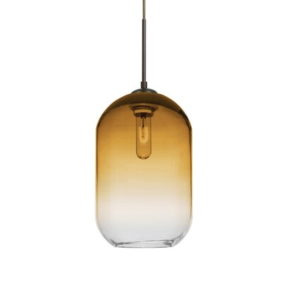 Joseph 1-Light Mini Pendant Finish: Bronze, Shade Color: Amber/Clear