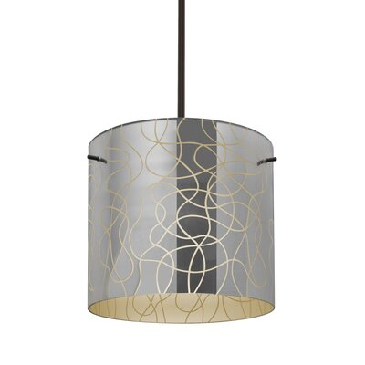 William 1-Light Drum Pendant Finish: Bronze, Shade Color: Creme, Size: 9.88 H x 7.88 W x 7.88 D