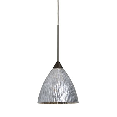 Caleigh 1-Light Mini Pendant Finish: Bronze, Shade Color: Stone Silver, Bulb Type: Incandescent