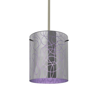 William 1-Light Cylinder Brass/Steel Drum Pendant Finish: Satin Nickel, Shade Color: Purple
