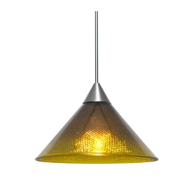 Kevin 1-Light Mini Pendant Finish: Satin Nickel, Shade Color: Amber/Creme, Bulb Type: LED