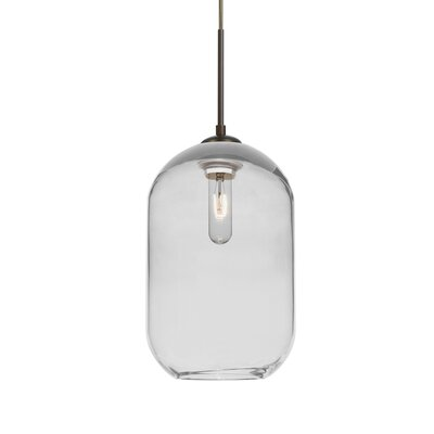 Joseph 1-Light Mini Pendant Finish: Bronze, Shade Color: Clear