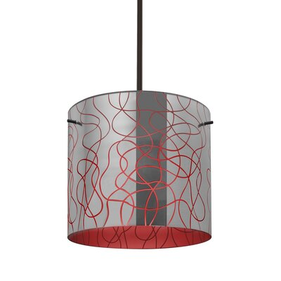 William 1-Light Drum Pendant Finish: Bronze, Shade Color: Red, Size: 9.88 H x 7.88 W x 7.88 D