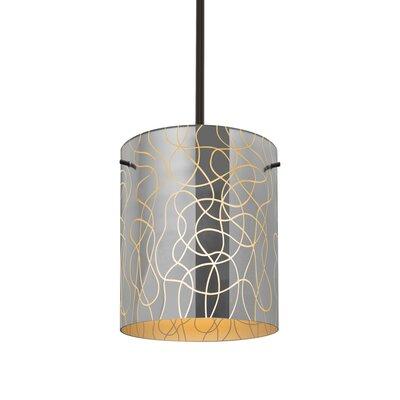 William 1-Light Cylinder Brass/Steel Drum Pendant Finish: Bronze, Shade Color: Orange