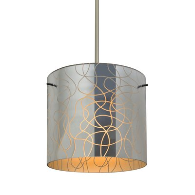 William 1-Light Cylinder Drum Pendant Finish: Satin Nickel, Shade Color: Orange