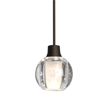 Dayna 1-Light Globe Pendant Finish: Bronze, Shade Color: Clear, Bulb Type: Halogen