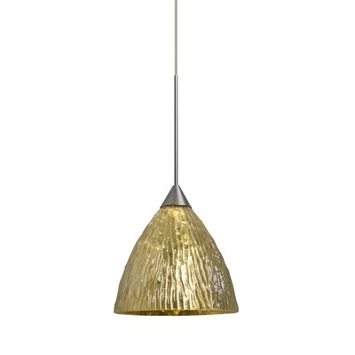 Caleigh 1-Light Mini Pendant Color: Satin Nickel, Shade Color: Stone Gold, Bulb Type: LED