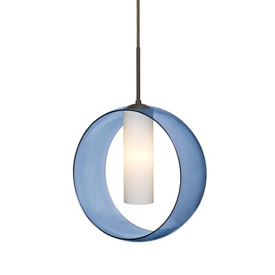 Anthony 1-Light Geometric Pendant Finish: Bronze, Shade Color: Blue